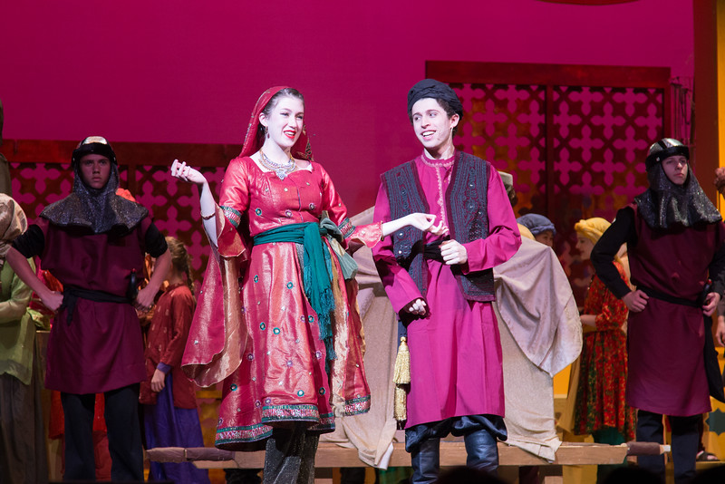 The Wazir of Police and Lalume, his wife -- Kismet, Montgomery Blair High School spring musical, April 15, 2016 performance (Silver Spring, MD)