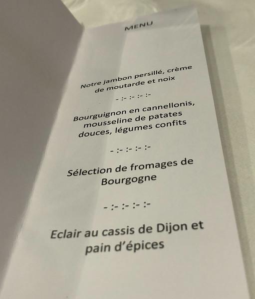 Dijon dinner menu