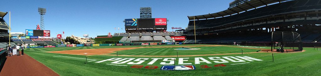 . A quiet stadium prior to a American League Division Series baseball game between the Kansas City Royals and the Los Angeles Angels at Anaheim Stadium in Anaheim, Calif., Thursday, Oct. 2, 2014.  (Photo by Keith Birmingham/ Pasadena Star-News)