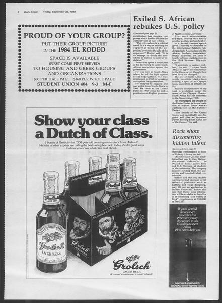 Daily Trojan, Vol. 94, No. 14, September 23, 1983