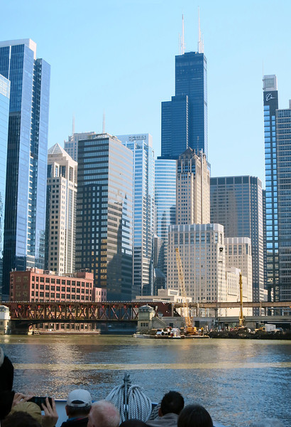 """22-Lake Street Bridge. The beige building behind the yellow crane and """"in front"""" of the Willis Tower is the Chicago Civic Opera House. Boeing Building at far right."""