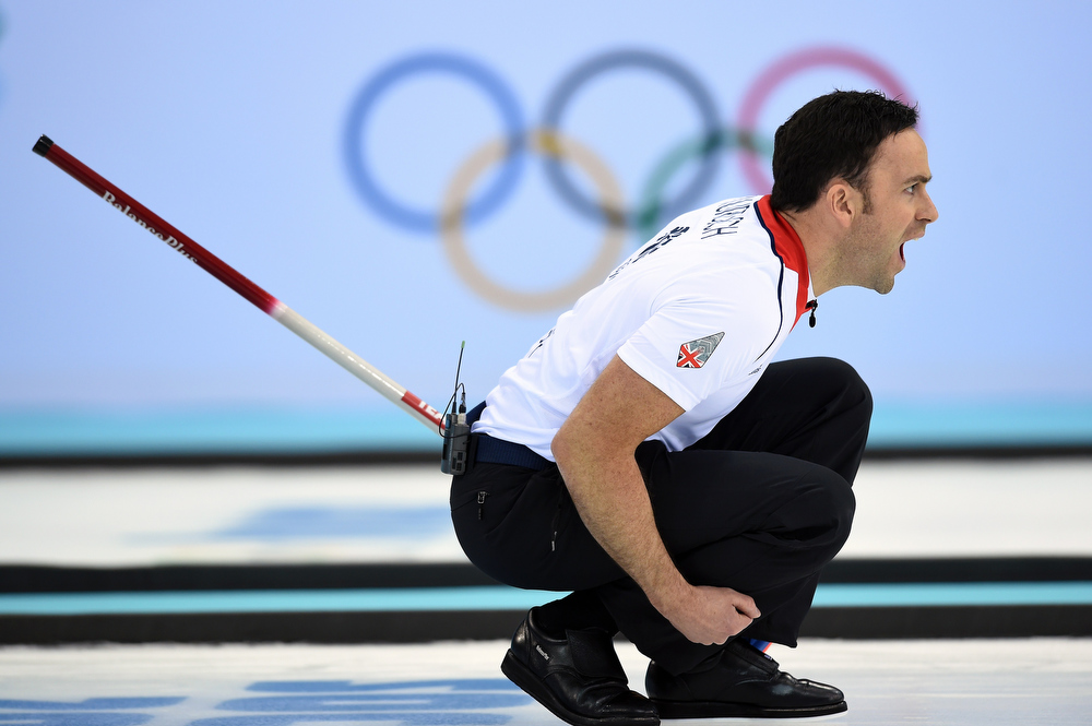 . Great Britain\'s David Murdoch reacts during the Men\'s Curling Gold Medal Game between Canada and Great Britain at the Ice Cube Curling Center in Sochi during the Sochi Winter Olympics on February 21, 2014.   LEON NEAL/AFP/Getty Images