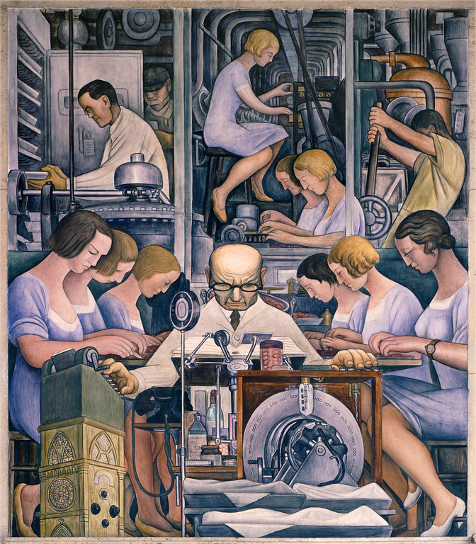 . Detroit Industry, south wall (detail), Diego Rivera, 1932-33, fresco. Detroit Institute of Arts (pharmaceutics)