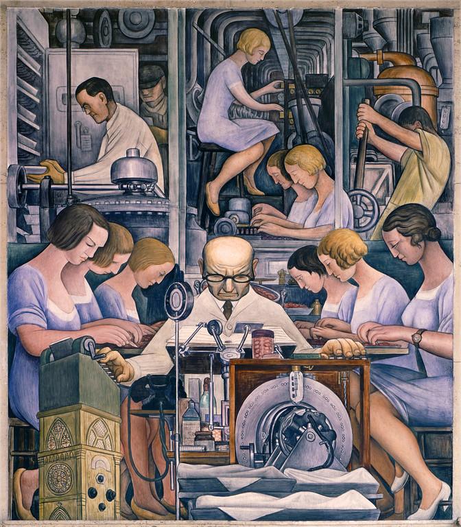 . Detroit Industry, south wall (detail), Diego Rivera, 1932-33, fresco. Detroit Institute of Arts (pharmaceutics)