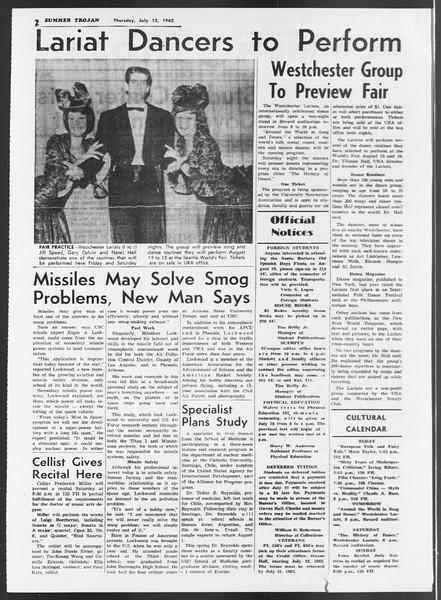 Summer Trojan, Vol. 12, No. 6, July 12, 1962