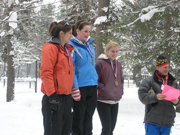 Top three girls in the 7.5km skate event.