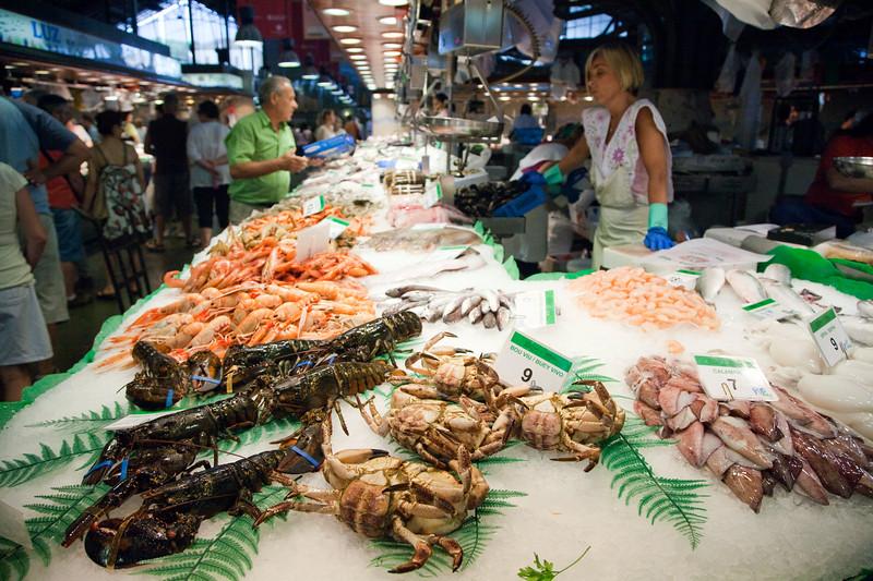 Seafood stall, Boqueria market, town of Barcelona, autonomous commnunity of Catalonia, northeastern Spain