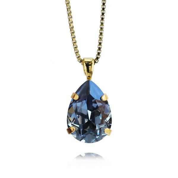 Mini Drop Necklace / Denim Blue / Gold