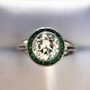 1.30ctw Old European Cut Diamond Emerald Target Ring 7