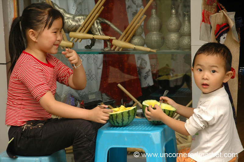 Chinese Kids Eating Afternoon Snack - Guizhou Province, China
