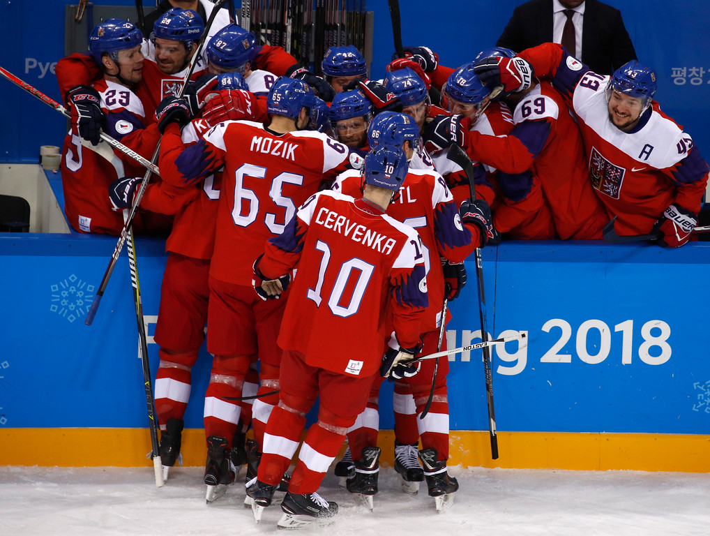 . The Czech Republic players celebrate after Tomas Kundratek scores a goal against the United States during the second period of the quarterfinal round of the men\'s hockey game at the 2018 Winter Olympics in Gangneung, South Korea, Wednesday, Feb. 21, 2018. (AP Photo/Jae C. Hong)