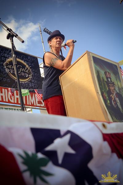Steve DeAngelo of Harborside Medical Center in California speaks on Main Stage at Seattle Hempfest 2013.  Photo by INNERCHIE