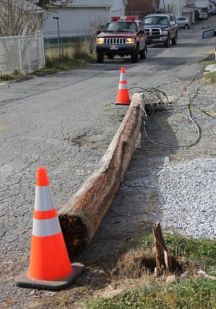 Downed Pole, 500 block of Glenwood Avenue, Tamaqua (11-24-2013)