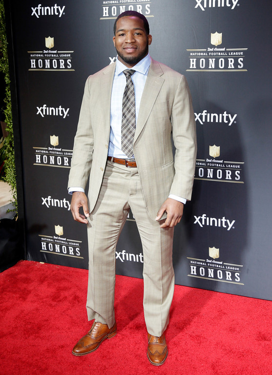 . Alfred Morris of the Washington Redskins arrives at the 2nd Annual NFL Honors on Saturday, Feb. 2, 2013 in New Orleans. (Photo by AJ Mast/Invision/AP)