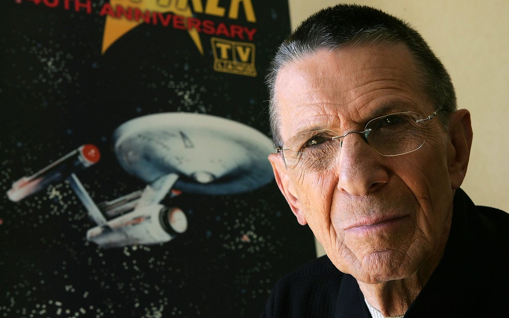 """. Actor Leonard Nimoy promotes the \""""Star Trek\"""" 40th Anniversary on the TV Land network at the Four Seasons hotel August 9, 2006 in Los Angeles, California. Episodes of the show will air September 8.  (Photo by Frazer Harrison/Getty Images)"""