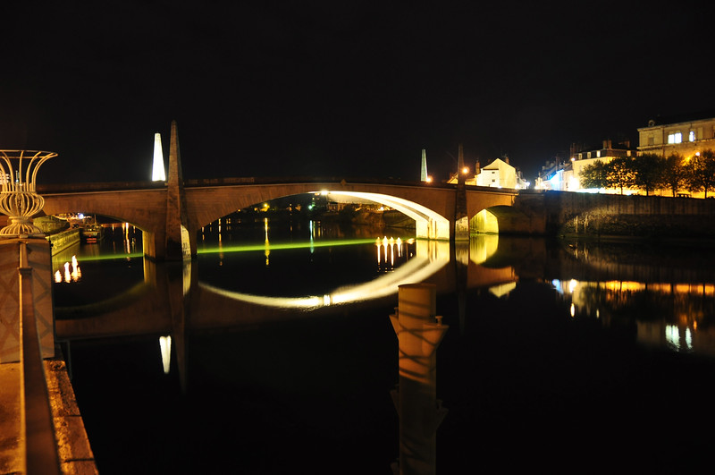 Night Image of Bridge on Saone River at Chalon-Sur-Soane, France.