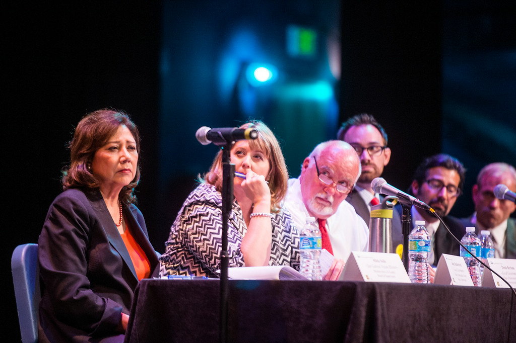 . Hilda Solis and other local officials sit on a panel during a San Gabriel Mountains meeting as the forest is being considered for national monument status Tuesday night, August 26, 2014 at Baldwin Park Performing Arts Center. Rep. Judy Chu has a bill to make the area a national recreation area but has since asked President Obama to make the mountains a national monument. (Photo by Sarah Reingewirtz/Pasadena Star-News)