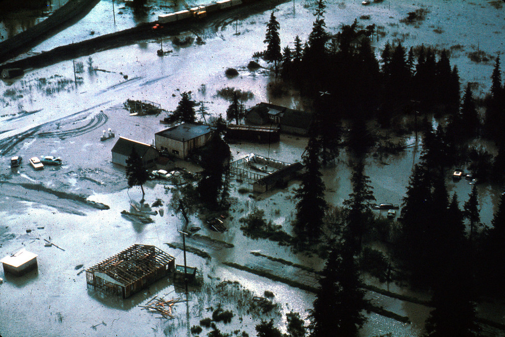. Alaska Earthquake March 27, 1964. The village of Portage, at the head of Turnagain Arm of Cook Inlet, is now flooded at high tide as a result of 6 feet of tectonic subsidence during the earthquake. U.S. Geological Survey photo