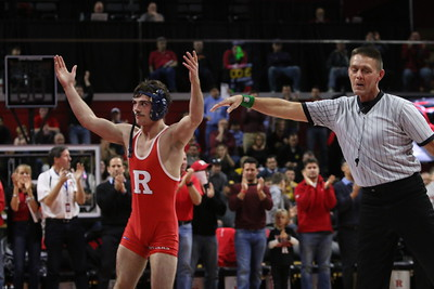 First Home Big 10 match vs #1 Iowa at the RAC, Jan. 2, 2015, 27-9 Iowa over RU, record crowd of 5,500 +/-