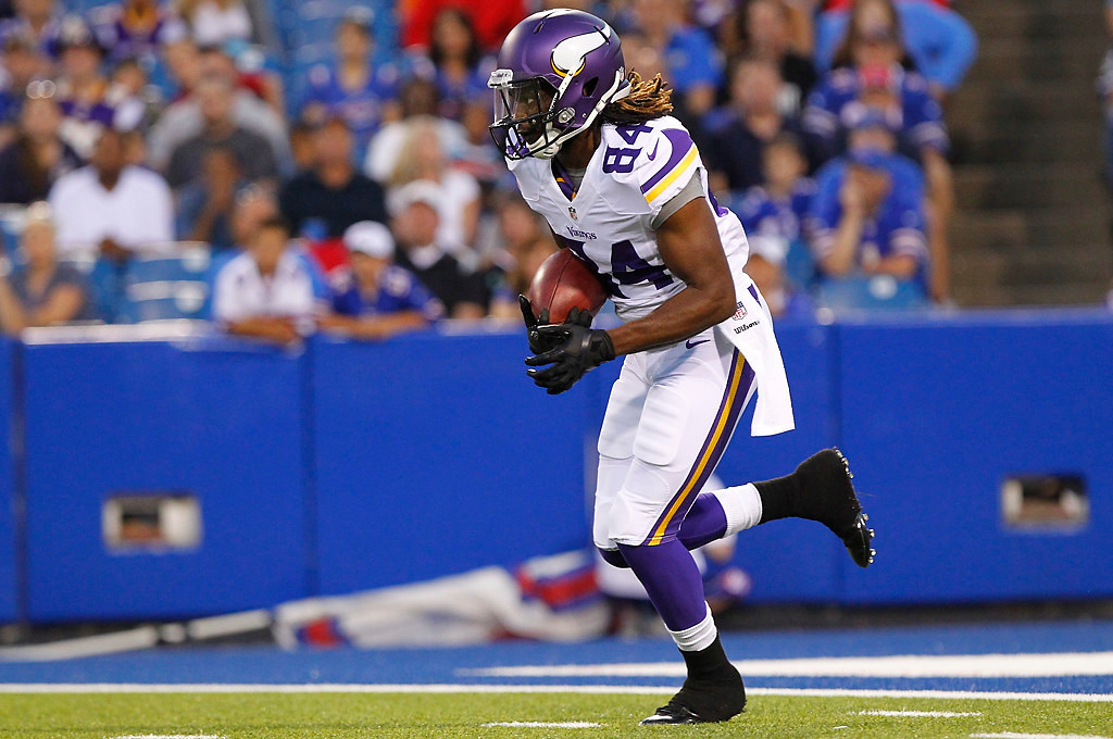 . Minnesota Vikings wide receiver Cordarrelle Patterson (84) returns a kickoff during the first half of an NFL preseason football game against the Buffalo Bills Friday, Aug. 16, 2013, in Orchard Park, N.Y.  (AP Photo/Bill Wippert)
