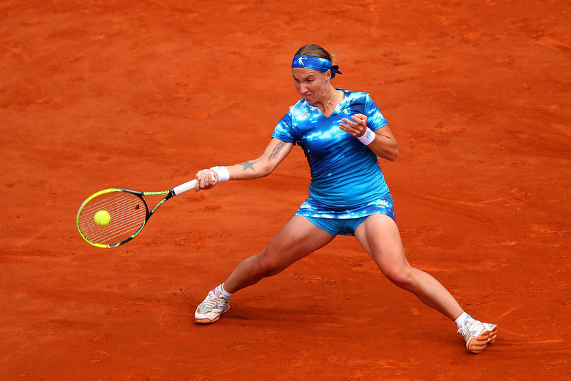 . Svetlana Kuznetsova of Russia plays a forehand during her Women\'s Singles match against Angelique Kerber of Germany  on day eight of the French Open at Roland Garros on June 2, 2013 in Paris, France.  (Photo by Julian Finney/Getty Images)