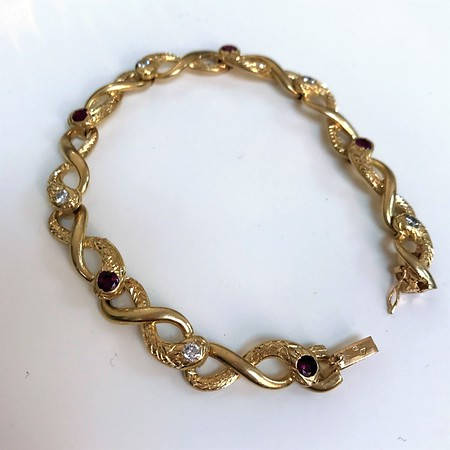 Vintage French Yellow Gold Serpent Motif Bracelet