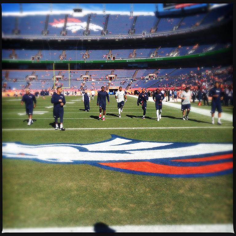 . The Patriots warming up. Photo by Joe Amon.
