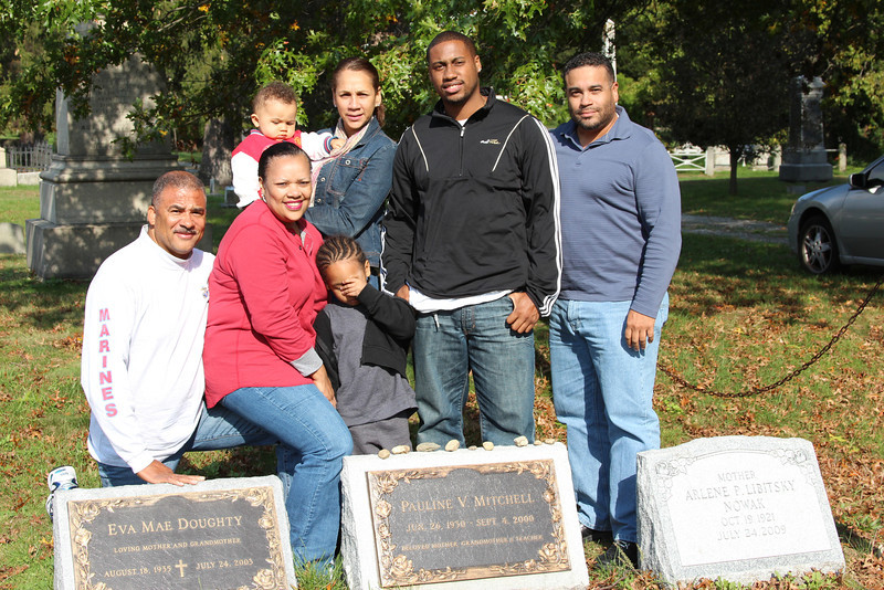 In CT @ Mommy's grave site with part of the family...  Macky, Missy, Cricket, Jonathan Jr., Jonathan, & Joey