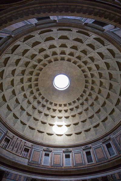 The dome inside the Pantheon.