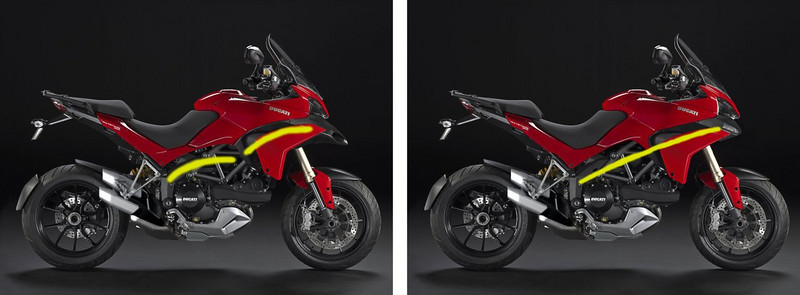 It appears that some people are not too keen on the Multistrada 1200's nose or beak (air intakes). Photoshop image from MotoBlog.it -  http://www.motoblog.it/post/21780/ducati-multistrada-1200-e-se-non-avesse-il-naso&anno=2 More info HERE