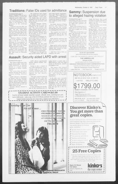 Daily Trojan, Vol. 116, No. 27, October 09, 1991