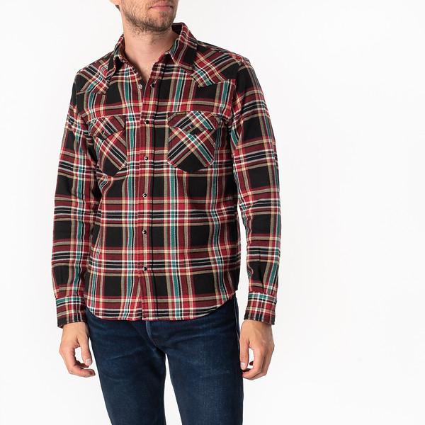 Black Crazy Check Ultra Heavy Flannel Western Shirt-1834.jpg
