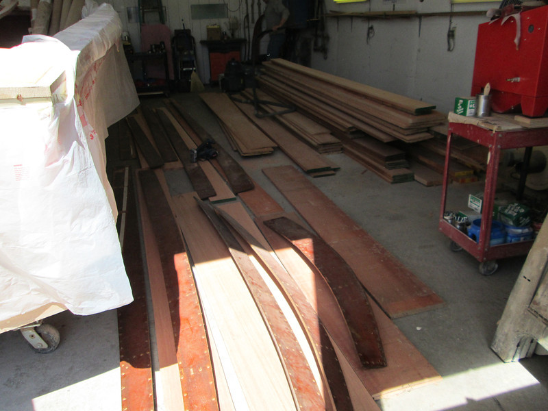 Another view of side planks being sorted.