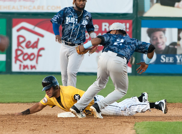 06/29/18 Wesley Bunnell | Staff The New Britain Bees were defeated 6-4 by the Southern Maryland Blue Crabs. Jonathan Galvez (10) is thrown out at second base.