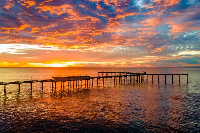 Ocean Beach Pier at Sunset on Christmas Eve 2020