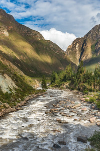 View up the river valley of the Urabamba in Peru