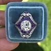 2.27ct (est) Art Deco Old European Cut Diamond with Amethyst Halo Ring 6