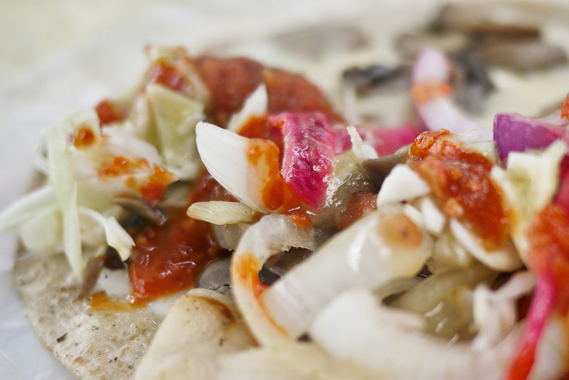 Delicious taco and salsa.