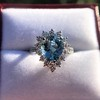 3.30ctw Aquamarine and Diamond Cluster Ring 22