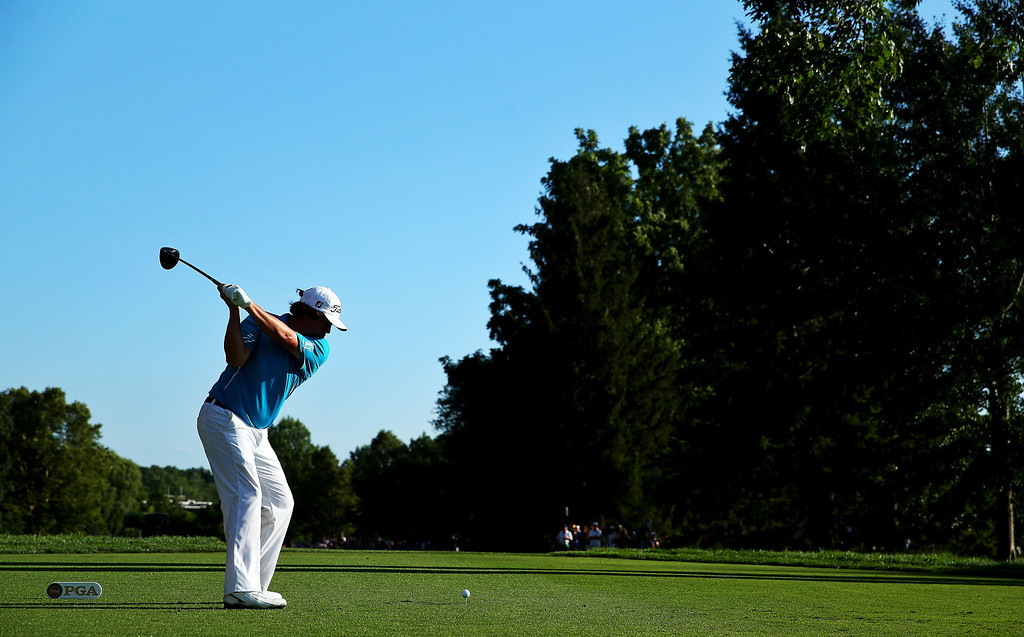 . Jason Dufner of the United States  hits his tee shot on the 16th hole during the final round of the 95th PGA Championship at Oak Hill Country Club on August 11, 2013 in Rochester, New York.  (Photo by Andrew Redington/Getty Images)