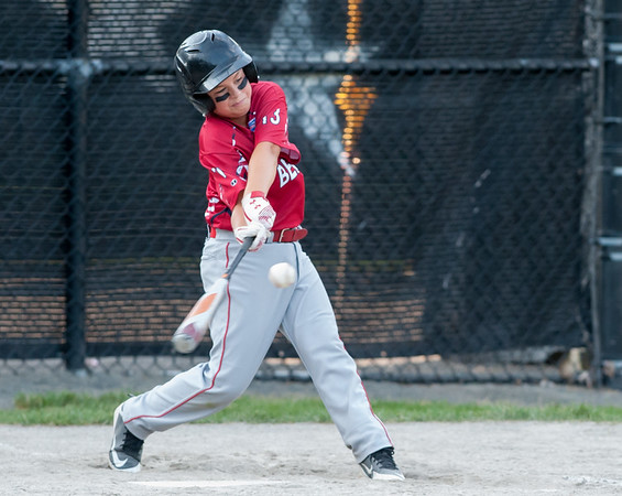 07/10/18 Wesley Bunnell | Staff Mason Toce (13) bats in the top of the sixth inning. Berlin 12U baseball was eliminated by Yalesville 2-0 on Tuesday evening at Bill Petit Complex.