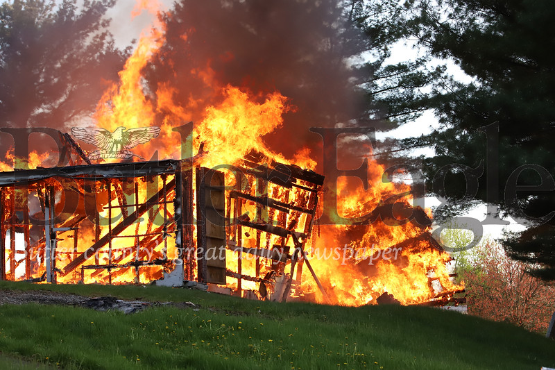 Structure fire on Little Creek Road Tuesday evening. Seb Foltz/Butler Eagle