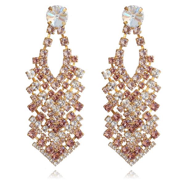 Zoe Earrings / Rose Blush + Crystal + Vintage Rose / Gold