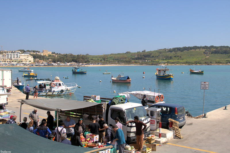 Malta.   Marsaxlokk Harbor and market.   03/24/19.     This work is licensed under a Creative Commons Attribution- NonCommercial 4.0 International License