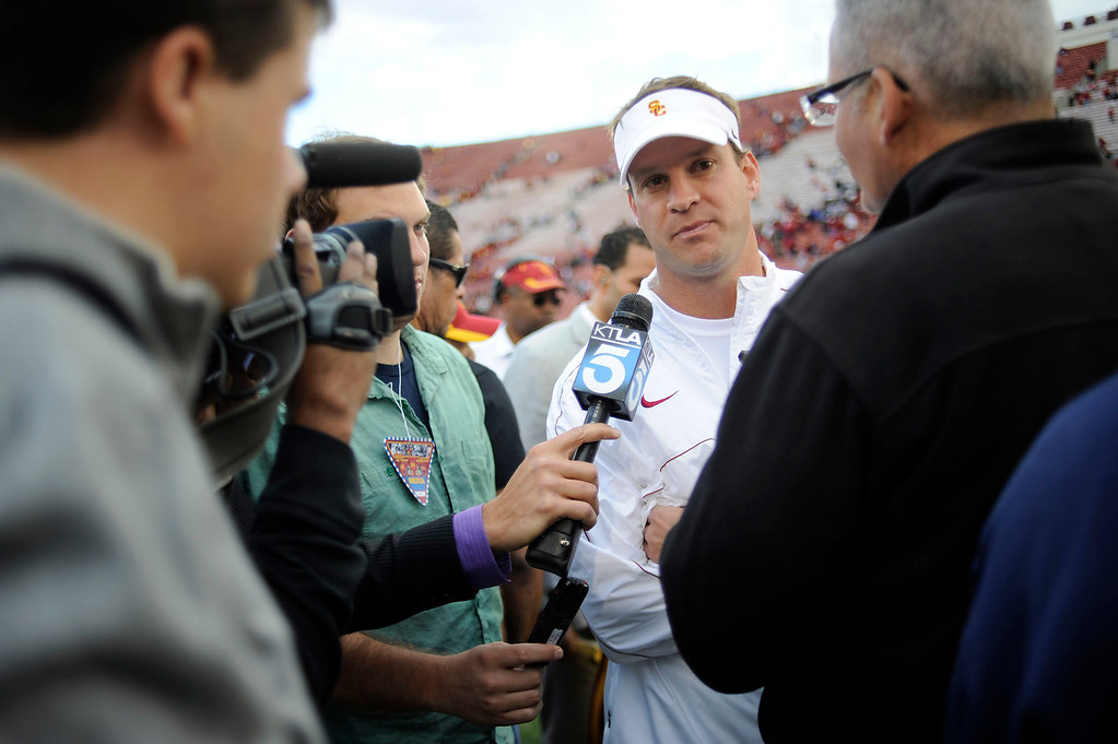 . USC head coach Lane Kiffin talks to the media after their PAC 12 Conference game against Arizona State at the Los Angeles Memorial Coliseum Saturday, November 10th 2012. USC beat Arizona State 38-17. (Hans Gutknecht/L.A. Daily News)