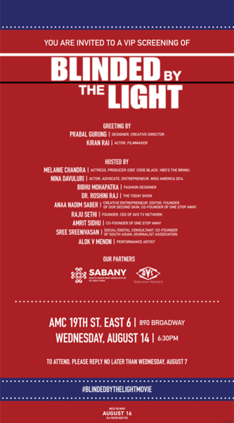 SABANY Co-Sponsors: A VIP Screening of Blinded by the Light