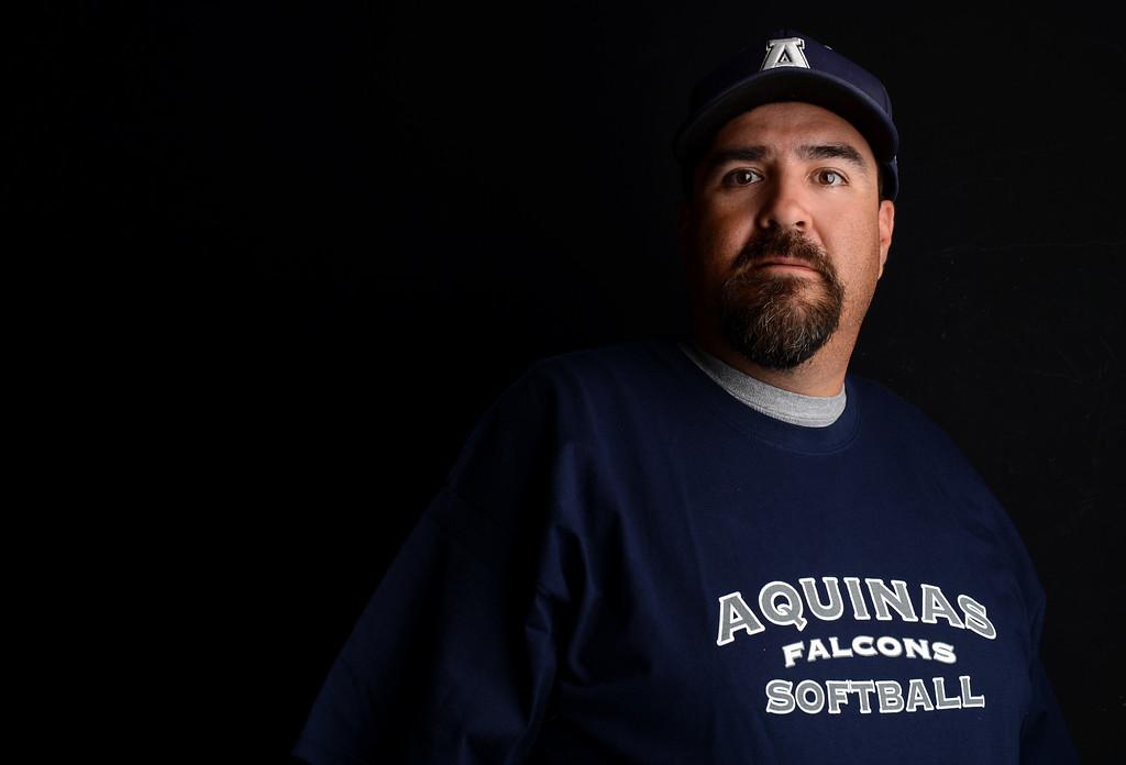 . Chris Ybarra has been named Coach of the Year to The Sun\'s All-Area softball team. Ybarra is the softball coach for Aquinas High School. Jennifer Maher staff photo The Sun.