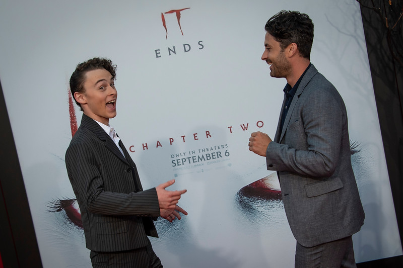 """WESTWOOD, CA - AUGUST 26: Wyatt Oleff and Andy Bean attend the Premiere Of Warner Bros. Pictures' """"It Chapter Two"""" at Regency Village Theatre on Monday, August 26, 2019 in Westwood, California. (Photo by Tom Sorensen/Moovieboy Pictures)"""