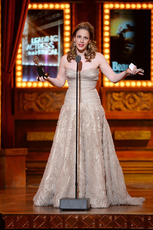 ". Jessie Mueller accepts the award for Best Performance by an Actress in a Leading Role in a Musical for �Beautiful"", onstage during the 68th Annual Tony Awards at Radio City Music Hall on June 8, 2014 in New York City.  (Photo by Theo Wargo/Getty Images for Tony Awards Productions)"