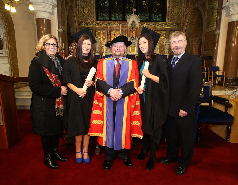 Pictured is Rebecca and Karen Caulfield from Waterford who graduated Bachelor of Arts (Hons) Marketing and Bachelor of Business (Hons), also in photo is Geraldine Caulfield, Dr. Derek O'Byrne, Registrar of Waterford Institute of Technology (WIT) and Noel Caulfield. Picture: Patrick Browne